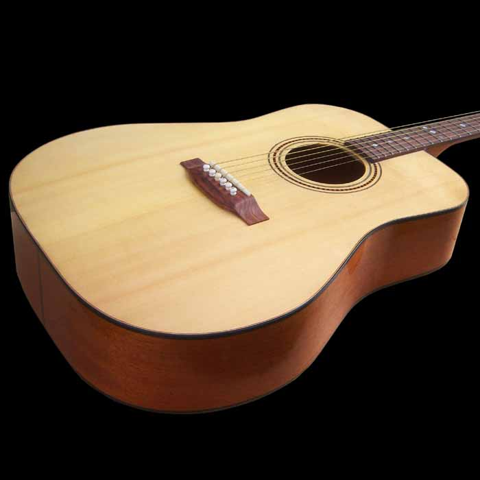 D-style acoustic guitar body angled