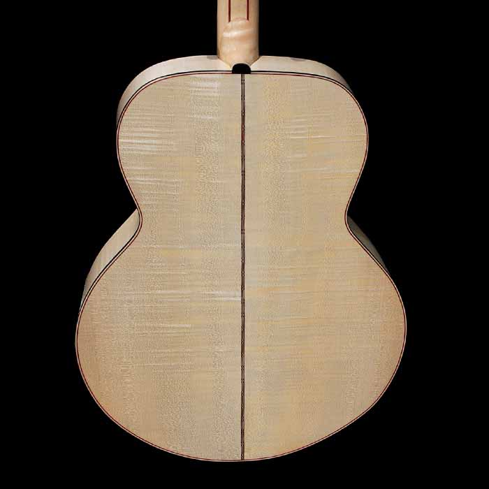 J-style acoustic guitar body back