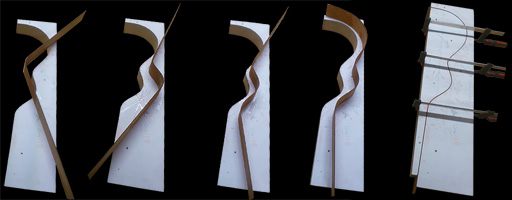 different stages of bending the side wood