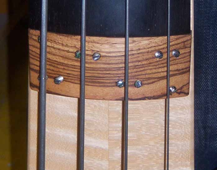 the new zebra wood pickup at the Fichter bass