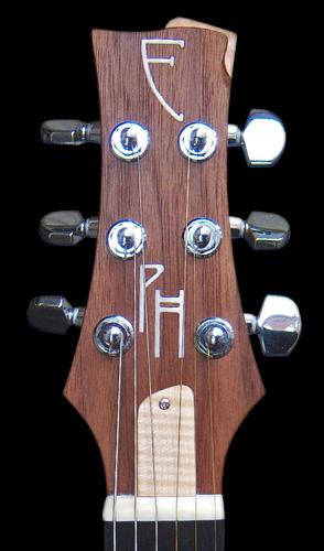 Custom-1 electric guitar head with pearl inlay