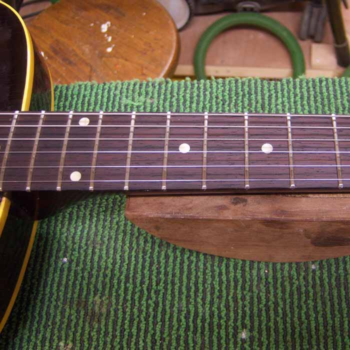 the new frets in the fretboard