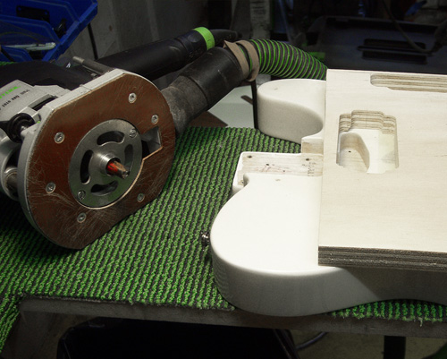 telecaster body with the router template