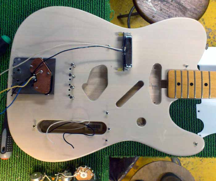 telecaster body with wiring loose and hardware of