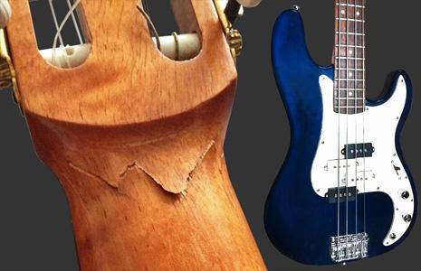 voorbeeld van gitaar reparaties en customizing